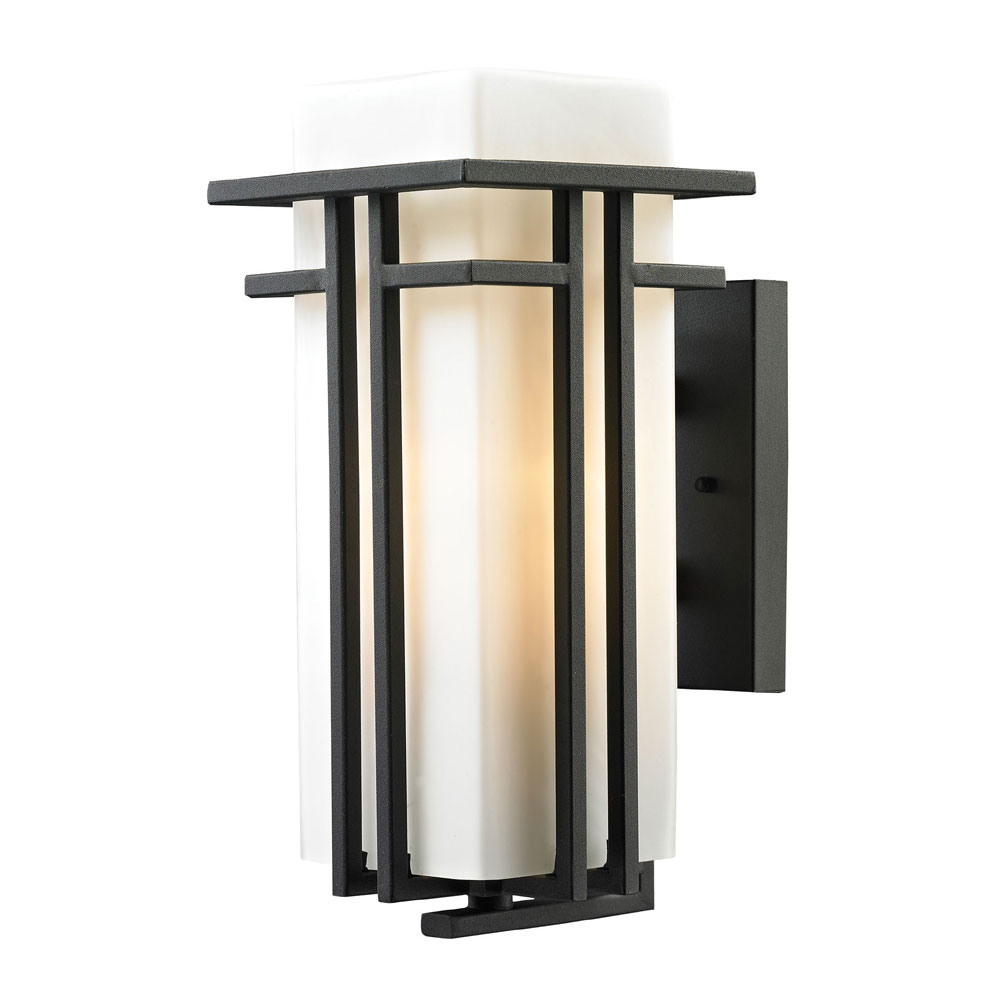 ELK 45086 1 Croftwell Modern Textured Matte Black Exterior Wall Lighting Fixt