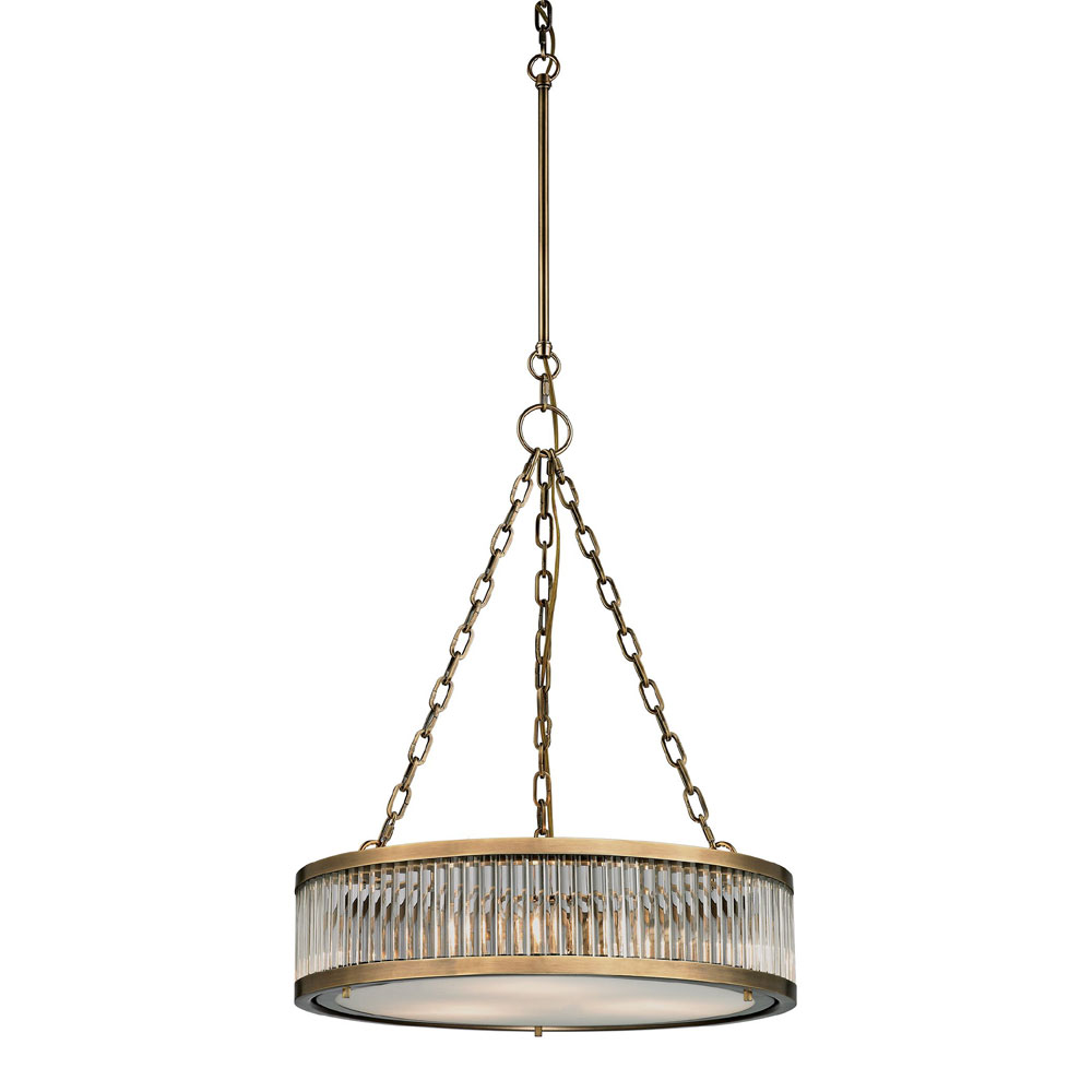 ELK 46125 3 Linden Aged Brass Drum Pendant Lighting