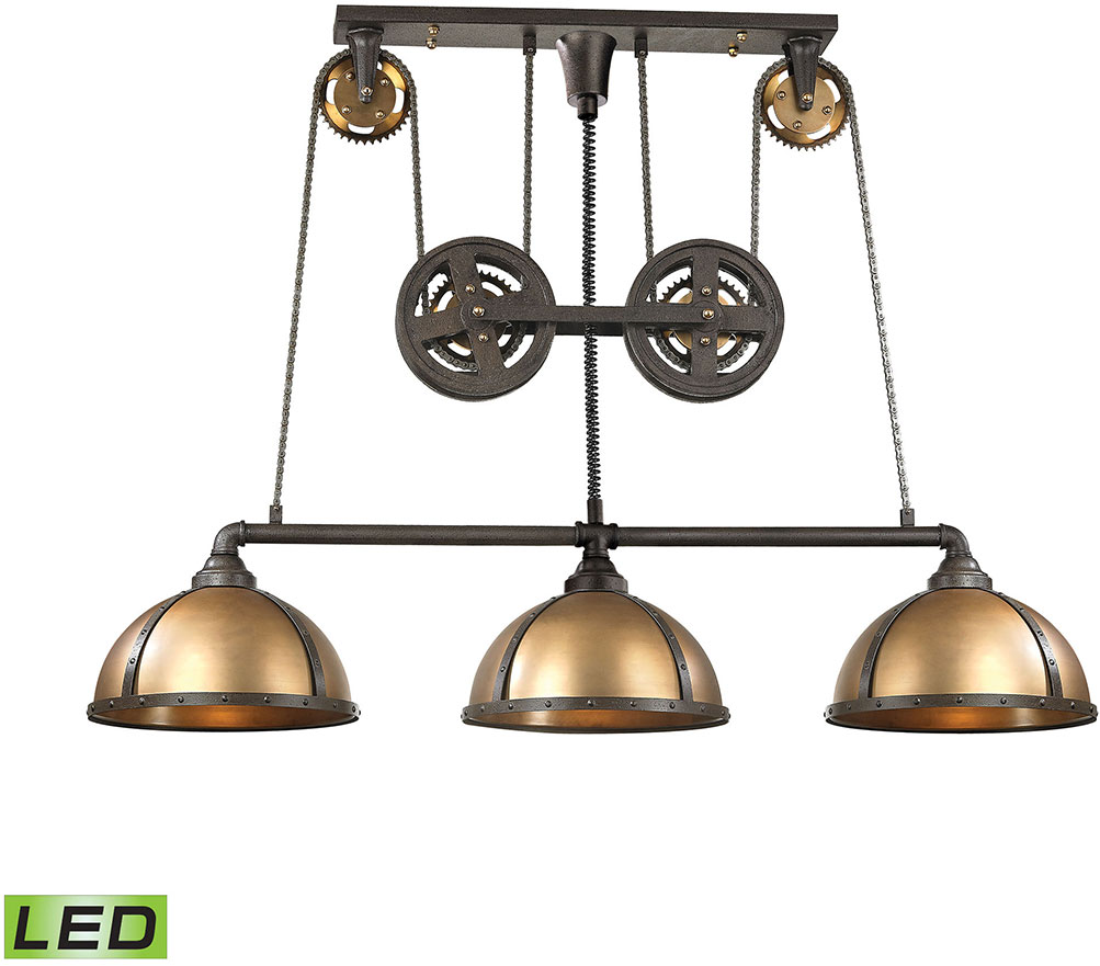 elk 65152 3 led torque contemporary vintage rust vintage brass led kitchen island light elk