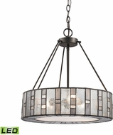 ELK 70212-3-LED Ethan Contemporary Tiffany Bronze LED Drum Hanging Pendant Light