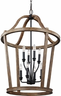 Feiss F3040-8WOW Lorenz Weathered Oak Wood Foyer Lighting Fixture