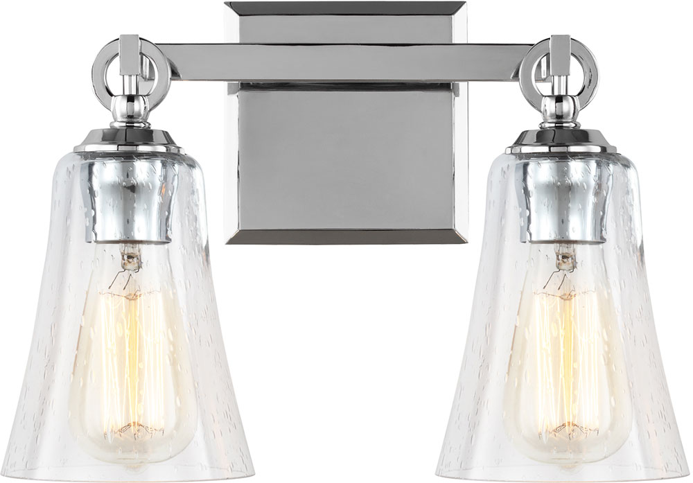 Chrome Bath Lighting Fixtures: Feiss VS24702CH Monterro Chrome 2-Light Bathroom Wall