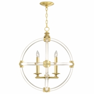 Fine Art Lamps 845840-2 Grosvenor Square Antique Hand-Rubbed Solid Brass Finish 28.5  Tall Mini Lighting Chandelier