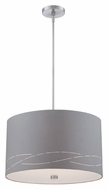 Philips Silver Laser 20 Inch Diameter Satin Nickel Drum Pendant Light
