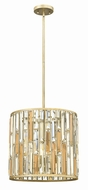 Fredrick Ramond FR33734SLF Gemma Silver Leaf Drum Pendant Lighting Fixture