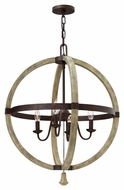 Fredrick Ramond FR40564IRR Middlefield 24 Inch Diameter Iron Rust 4 Candle Rustic Chandelier