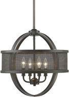 Golden Lighting 3167-4P-EB-EB Colson EB Modern Etruscan Bronze Mini Lighting Chandelier (with shade)