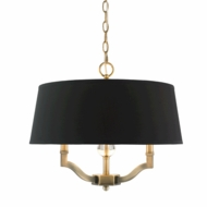 Golden Lighting 3500-SF-AB-GRM Waverly Aged Brass Drum Pendant Lamp / Flush Lighting