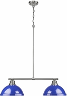 Golden Lighting 3602-2LP-PW-BE Duncan Modern Pewter 2-Light Kitchen Island Light