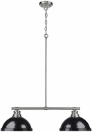 Golden Lighting 3602-2LP-PW-BK Duncan Contemporary Pewter 2-Light Island Light Fixture