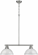 Golden Lighting 3602-2LP-PW-WH Duncan Contemporary Pewter 2-Light Kitchen Island Light