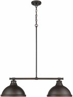 Golden Lighting 3602-2LP-RBZ-RBZ Duncan Modern Rubbed Bronze 2-Light Island Light Fixture