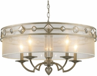 Golden Lighting 6390-5-WG Coronada White Gold Drum Hanging Light Fixture
