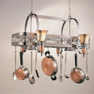Hi-Lite Manufacturing H-10Y-D-14-WHT-ODY Satin Steel/Satin Copper Finish 21  Tall Pot Rack Kitchen Island Lighting