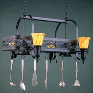 Hi-Lite Manufacturing H-10Y-D-BK01-SAT-YEL Black Leather Finish 29  Wide Pot Rack Island Light Fixture