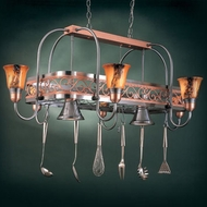 Hi-Lite Manufacturing H-12Y-D-11-24-BRN-ODY Satin Steel/Copper Frame Finish 21  Tall Pot Rack Island Light Fixture