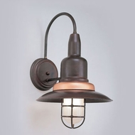 Hi-Lite Manufacturing H-1351-B-74-FR Harbor Nautical Rosewood/Raw Copper Finish 12  Wide Lighting Wall Sconce