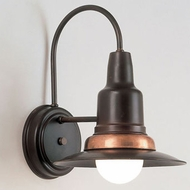 Hi-Lite Manufacturing H-1381-B-74 Wagon Wheel Rosewood/Raw Copper Finish 9  Wide Wall Lighting Sconce