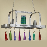 Hi-Lite Manufacturing H-22Y-D-11 Satin Steel Finish 15  Tall Pot Rack Island Lighting