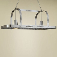Hi-Lite Manufacturing H-24Y-D-11 Satin Steel Finish 15  Wide Pot Rack Island Light Fixture