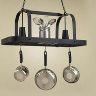 Hi-Lite Manufacturing H-32Y-D-BK01 Black Leather Finish 15  Tall Pot Rack Kitchen Island Light Fixture