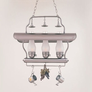 Hi-Lite Manufacturing H-3X-D-11-WRACK-FR Tavern Satin Steel Finish 21  Tall Kitchen Island Lighting