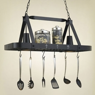 Hi-Lite Manufacturing H-42Y-D-BK01-A-SIL Black Leather/Accent Silver Finish 15  Tall Pot Rack Kitchen Island Light Fixture