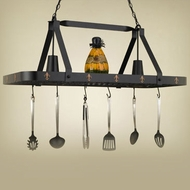 Hi-Lite Manufacturing H-44Y-D-BK01-A-COP Black Leather/Accent Copper Finish 15  Wide Pot Rack Island Lighting