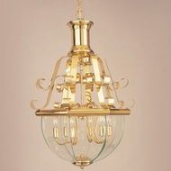 Hi-Lite Manufacturing H-636-D-01-CLR-BVL Beveled Traditional Polished Brass Finish 31  Tall Foyer Ceiling Light Pendant