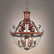Hi-Lite Manufacturing H-638-D-77-CLR-BVL Beveled Traditional Rosewood Finish 23  Wide Foyer Ceiling Pendant Light