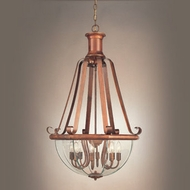 Hi-Lite Manufacturing H-639-D-77-CLR-BVL Beveled Traditional Rosewood Finish 41  Tall Foyer Drop Ceiling Light Fixture