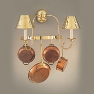 Hi-Lite Manufacturing H-8134-B-01 Polished Brass Finish 22  Wide Pot Rack Wall Sconce Lighting