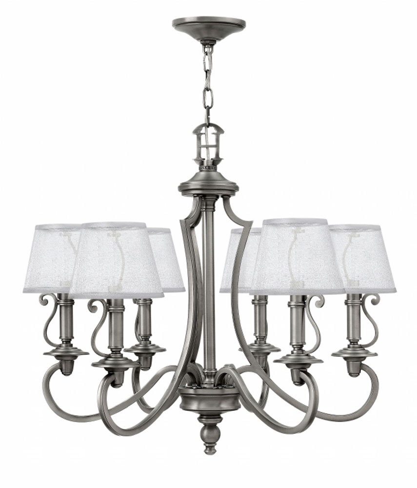Antique Nickel Chandelier: Hinkley 4246PL Plymouth Polished Antique Nickel Chandelier Lighting.  Loading zoom,Lighting