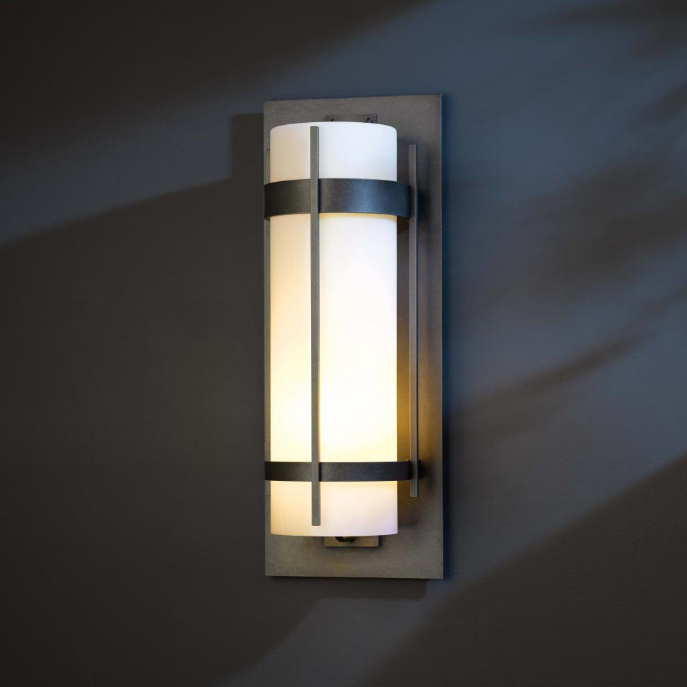 forge 305895 banded led exterior wall lighting sconce hub 305895. Black Bedroom Furniture Sets. Home Design Ideas