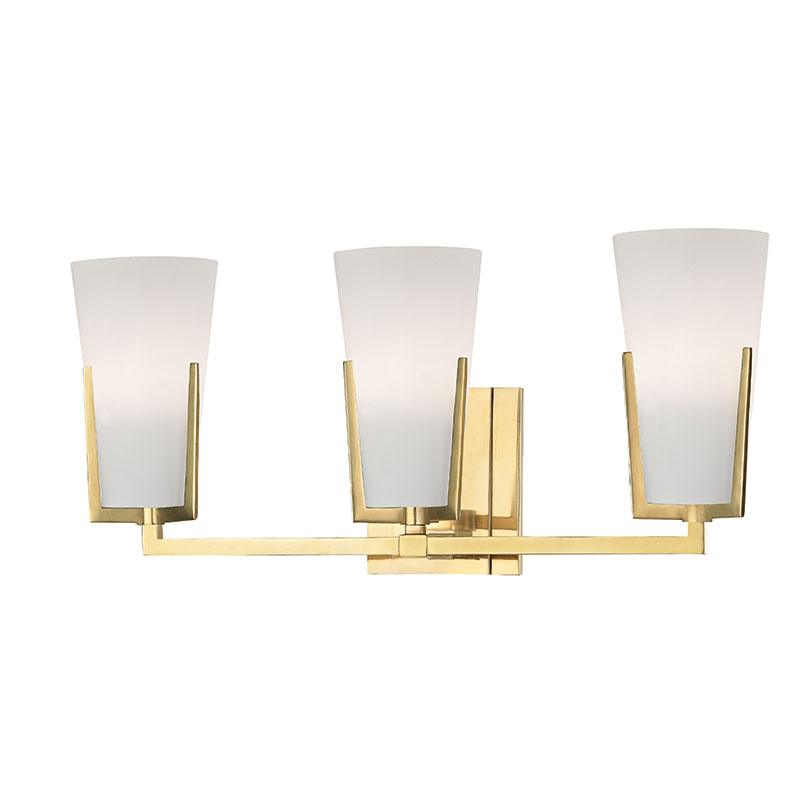 Hudson Valley 1803 AGB Upton Aged Brass Xenon 3 Light Bathroom Sconce Lightin