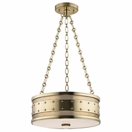 Hudson Valley 2216-AGB Gaines Vintage Aged Brass Finish 16  Wide Drum Pendant Light Fixture