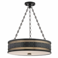 Hudson Valley 2222-AOB Gaines Retro Aged Old Bronze Finish 43  Tall Drum Hanging Light Fixture