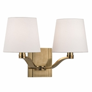 Hudson Valley 2462-AGB Clayton Aged Brass Finish 14  Wide Wall Mounted Lamp