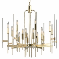 Hudson Valley 9916-AGB Bari Contemporary Aged Brass Finish 30  Wide Chandelier Lighting