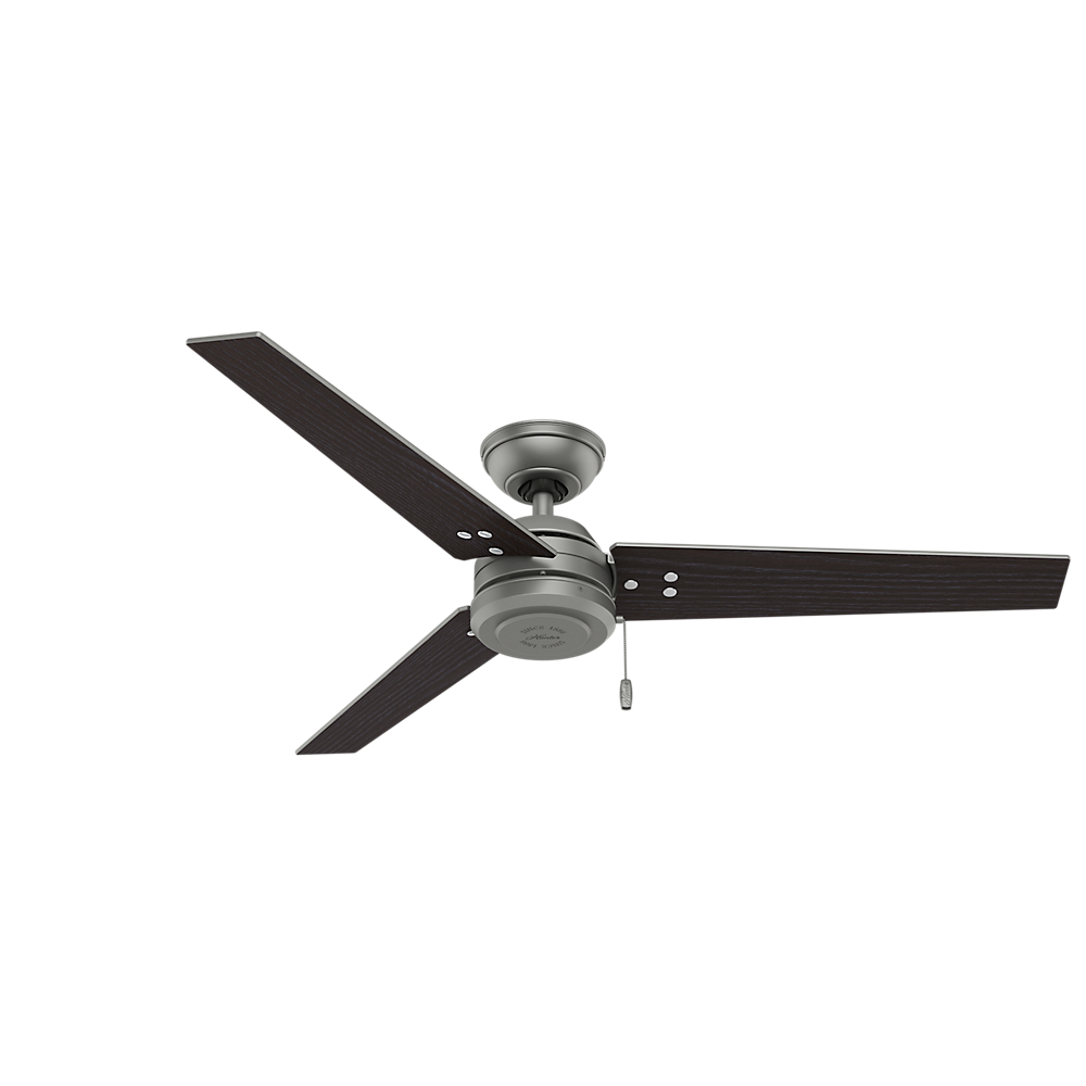 Hunter 72 Industrial Matte White Damp Rated Ceiling Fan: Hunter 59262 Cassius Contemporary Matte Silver / Black