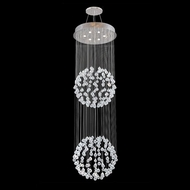 James Moder 40422S22 Impact Crystal Rain Collection Silver Halogen Multi Hanging Light Fixture