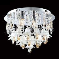 James Moder 96324 Murano Crystal Aged Gold Flush Ceiling Light Fixture