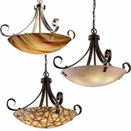 Justice Design 3FRM-9742 3form Scrolls w/ Finials 22  Tall Drop Ceiling Lighting