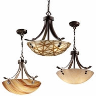 Justice Design 3FRM-9751 3form Flat Bars w/ Finials 24  Wide Ceiling Light Pendant