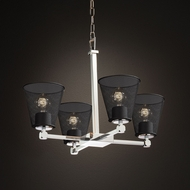 Justice Design MSH-8420 Tetra Wire Mesh Contemporary Mini Chandelier Lighting