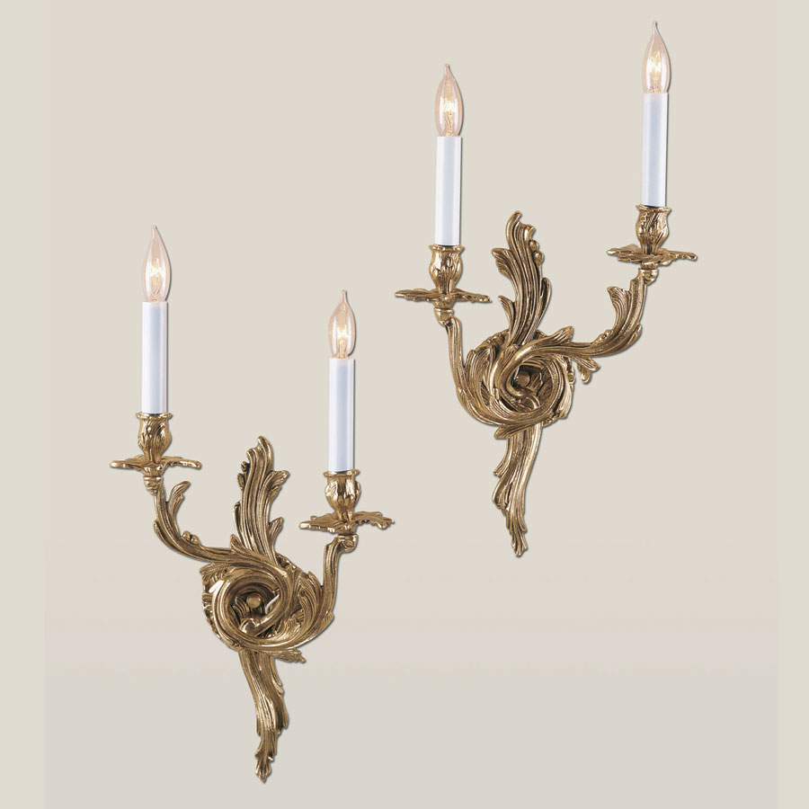 Jvi designs 651 rococo style 19 inch tall antique brass 2 candle wall