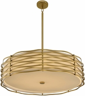 Kalco 312754VBR Paloma Modern Vintage Brass LED Drum Pendant Light Fixture