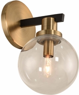 Kalco 315421BBB Cameo Contemporary Matte Black Finish with Brushed Pearlized Brass Wall Sconce Lighting
