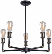 Kenroy Home 93375BL Ancestry Contemporary Black and Antique Bronze Chandelier Light