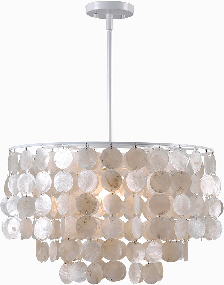 Kenroy Home 93409WH Shelley Modern White Hanging Light